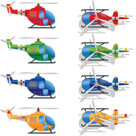 A set of multi-colored helicopters on white background. Vector illustration.