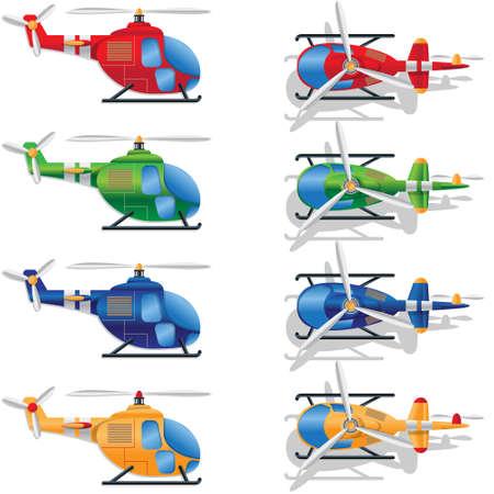 Un ensemble d'hélicoptères multicolores sur fond blanc. Illustration vectorielle.