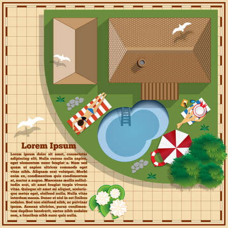 Swimming pool near the house. A place to rest of people. View from above. Vector illustration.