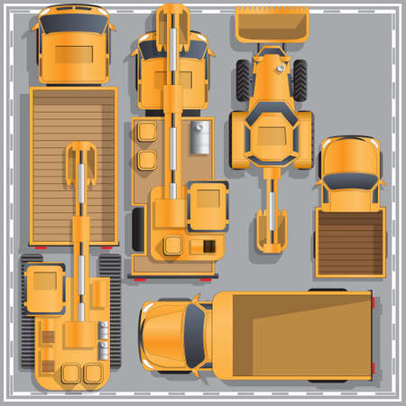 Construction machinery. View from above. Vector illustration.  イラスト・ベクター素材
