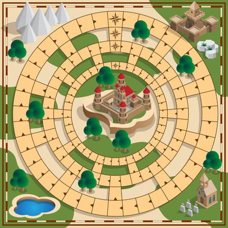 Gioco da tavolo del tema medievale. Disegno vettoriale per l'interfaccia utente del gioco app.