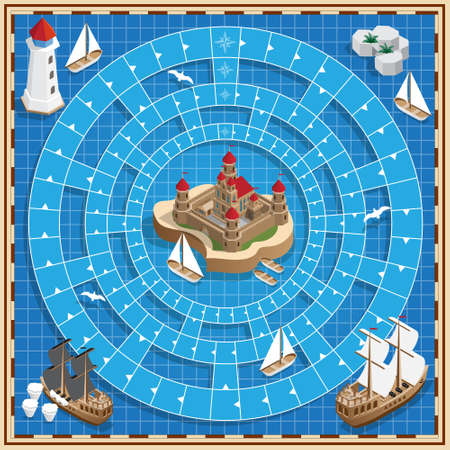 A board game on the marine theme. Vector design for app game user interface.