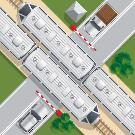 Railroad crossing. View from above. Vector illustration.