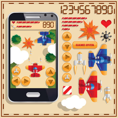 Air battle. View from above. A set of user interface elements. Mobile app. Vector illustration.