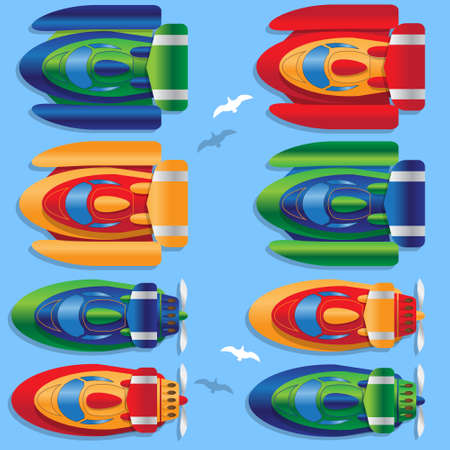 Set of racing boats. View from above. Vector illustration.