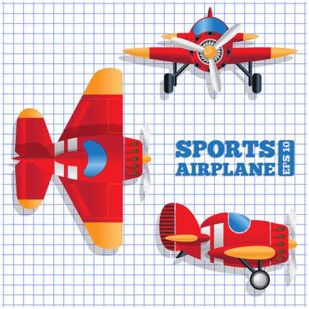 Scheme of a sports aircraft. Vector illustration.  イラスト・ベクター素材