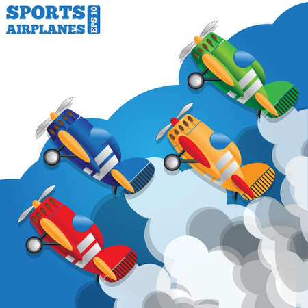 Group of sport aircraft in the clouds. Side view. Vector illustration.  イラスト・ベクター素材