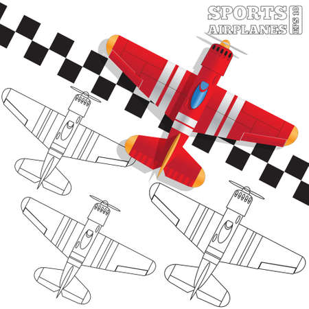 Sports planes on the finish line. View from above.  イラスト・ベクター素材