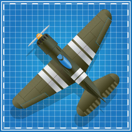 Airplane on a blue background. View from above. Vector illustration.