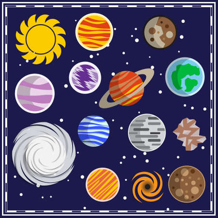 Set of stars and planets. Space theme. Vector illustration.  イラスト・ベクター素材