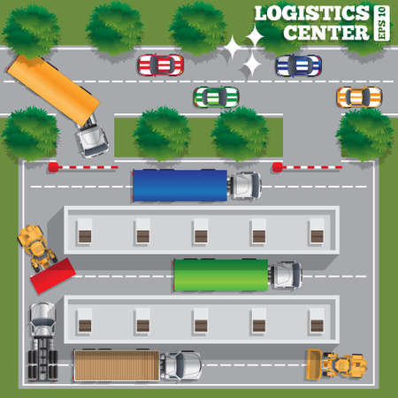 Logistics center. View from above. Vector illustration.