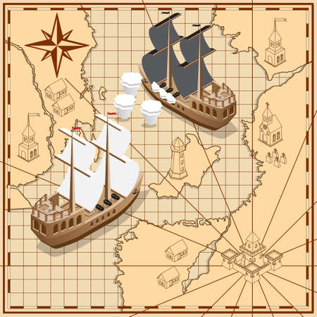 Sailing ship on the background of old maps. Isometric. Vector illustration.