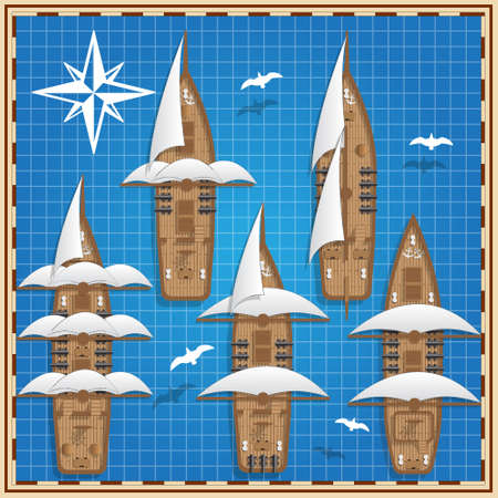 A set of sailing ships. View from above. Vector illustration.