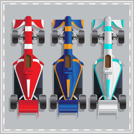 Set of racing cars. View from above. Vector illustration.