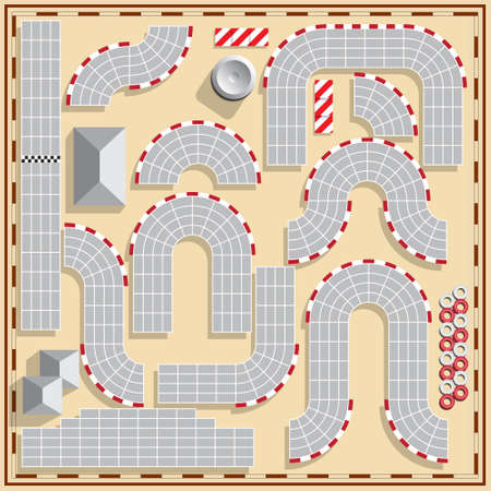 Set Of Elements Of The Race Track  View From Above  Vector