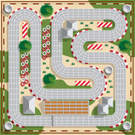 Speedway. Board game. View from above. Vector illustration. Иллюстрация
