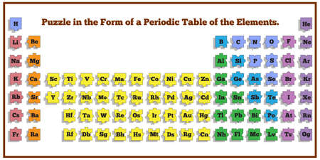 Periodic table of elements. Vector design for app game user interface.  イラスト・ベクター素材