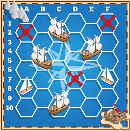 Battleship. Sailboats. Isometric. Vector design for app game user interface. Ilustração
