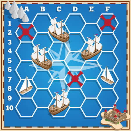 Battleship. Sailboats. Isometric. Vector design for app game user interface. Illustration
