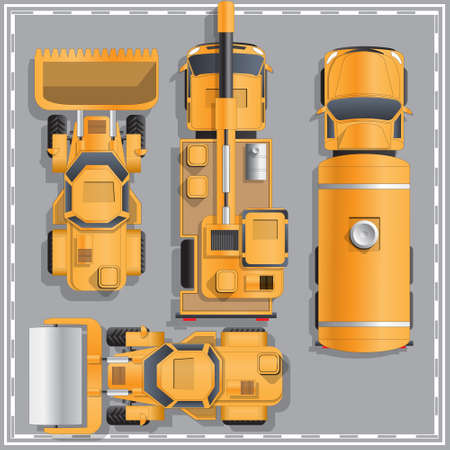 Construction machinery. View from above. Vector illustration. Ilustração