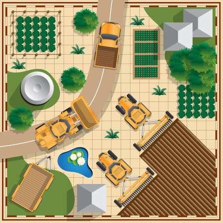 Rural landscape. View from above. Vector illustration.