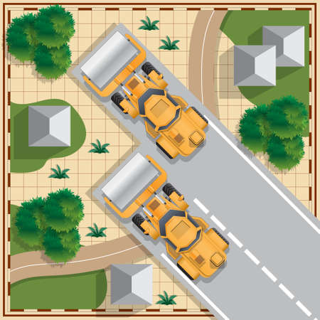 Construction of the road in the countryside. View from above. Vector illustration.