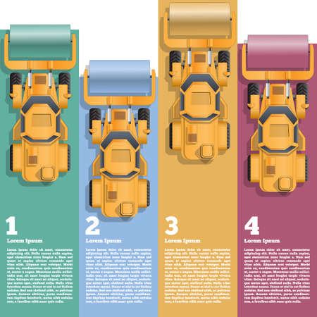 Set of road rollers with colored strips. View from above. Business brochure design template. Vector illustration.