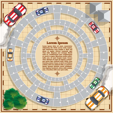 Car racing. Board game. Vector design for app game user interface.