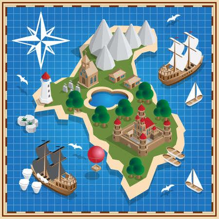 Seascape. Medieval island. Isometric. Vector illustration.