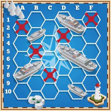 Battleship. Isometric. Vector design for app game user interface.