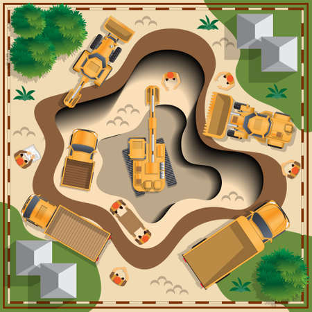 Work at the quarry. View from above. Vector illustration.