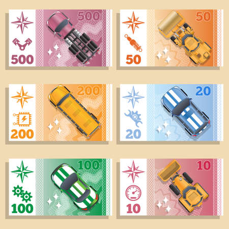 A set of game of money with the image of vehicles. Isometric. Vector illustration.