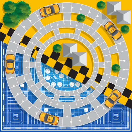 Moving the taxi in the city. Board game. Vector design for app game user interface.