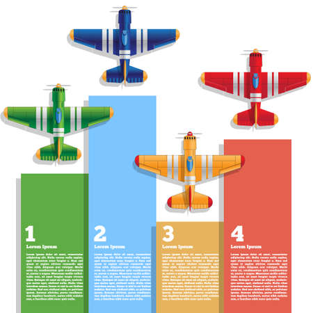 Sports airplanes. Isolated on white background. The template for the presentation. Vector illustration. Ilustração