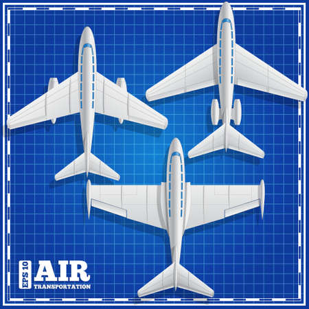 Passenger jets on a blue background. View from above. Vector illustration.