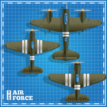 Military aircraft on a blue background. View from above. Vector illustration.