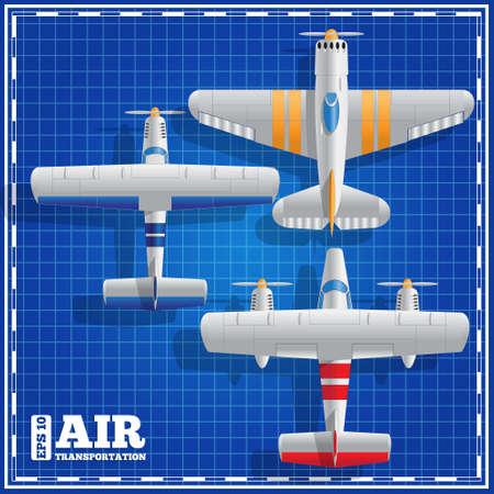 Set airplanes. View from above. Vector illustration. Ilustração
