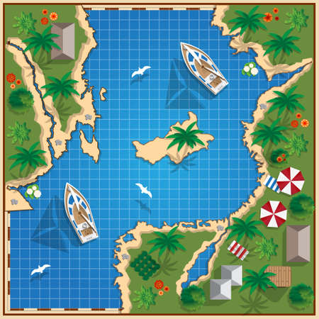 Tropical coast. View from above. Vector illustration.