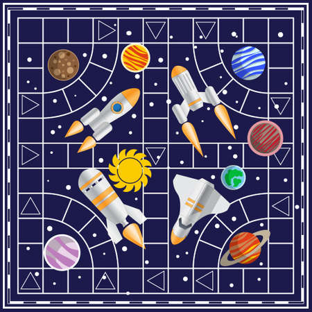 A board game on the space theme. Vector illustration.