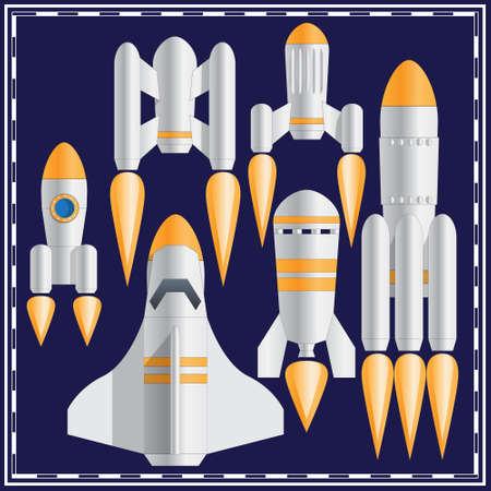 Set of spaceships. Vector illustration. Ilustração