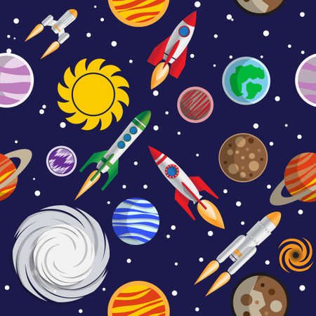 Seamless pattern on the space theme. Vector illustration.