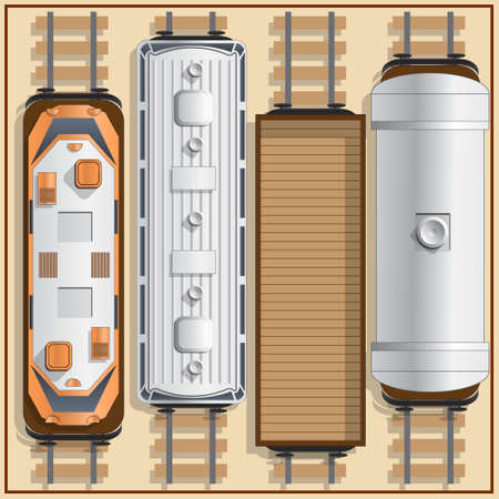 Railway locomotive and wagons. View from above. Vector illustration.
