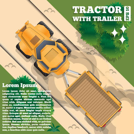 Tractor with trailer on a forest road. View from above. Vector illustration.