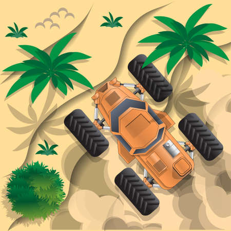 Futuristic car. View from above. Vector illustration.  イラスト・ベクター素材