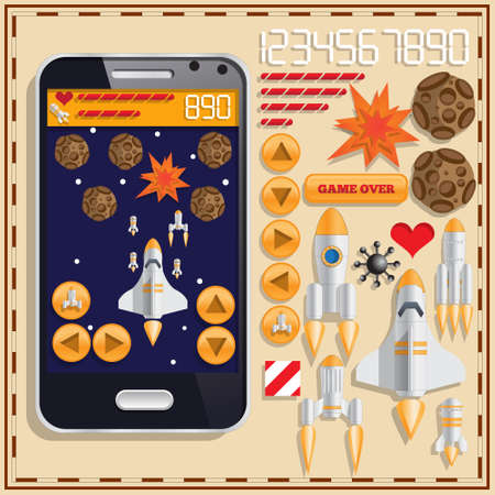 Space theme. A set of user interface elements. Mobile app. Vector illustration.