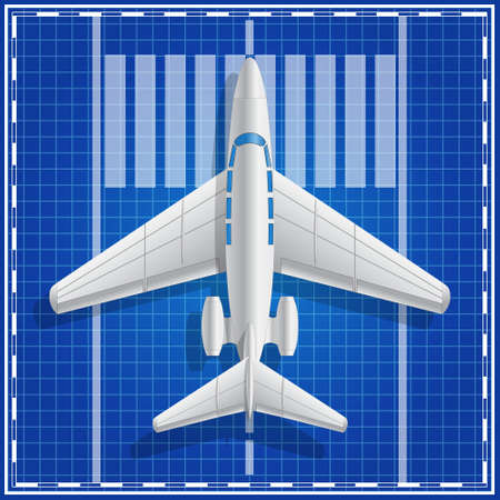 Private jet plane on takeoff. View from above. Vector illustration.