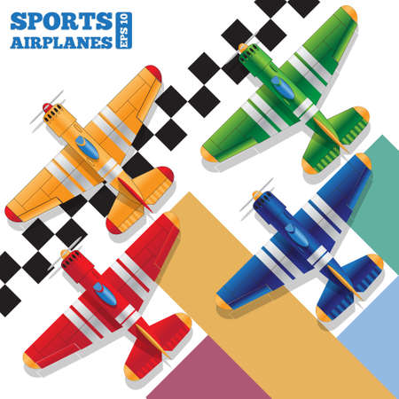 Sports planes on the finish line. View from above. The template for the presentation. Vector illustration.