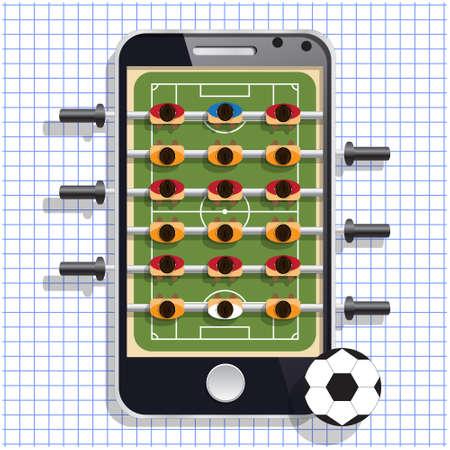 Table soccer. Mobile app. Vector illustration.