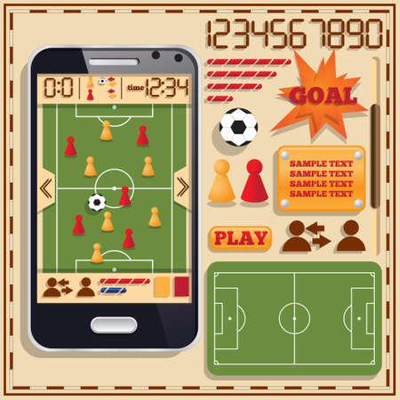 Soccer. A set of user interface elements. Mobile app. Vector illustration.