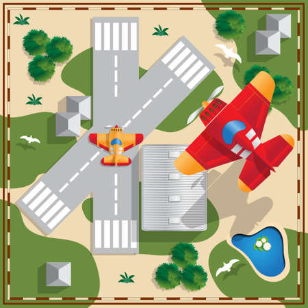 Aircraft on the background of the airfield. View from above. Vector illustration. Ilustração